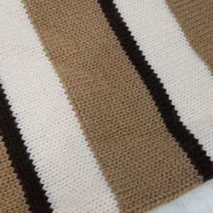 Accessories - Brown, tan & white striped knit scarf
